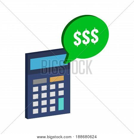 Calculator And Dollar Symbol. Flat Isometric Icon Or Logo. 3D Style Pictogram For Web Design, Ui, Mo