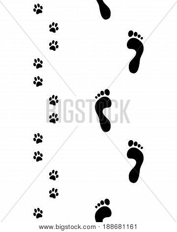 Prints of feet and paws of dog, seamless