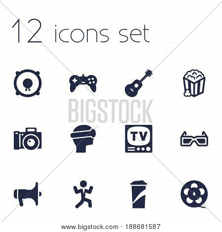 Set Of 12 Amusement Icons Set.Collection Of Acoustic, Spectacles, Joystick And Other Elements.