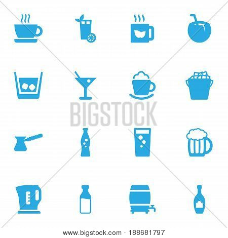 Set Of 16 Beverages Icons Set.Collection Of Cask, Fizzy Water, Hot And Other Elements.