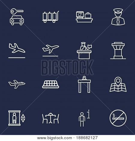 Set Of 16 Aircraft Outline Icons Set.Collection Of Cafe, Car Rent, Flight And Other Elements.