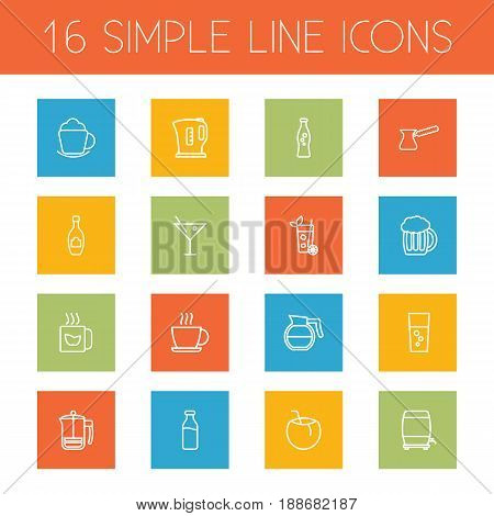 Set Of 16  Outline Icons Set.Collection Of Soda, Fizzy Water, Glass And Other Elements.