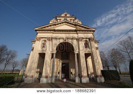 GALLIATE ITALY - FEBRUARY 27 2017: San Pietro in Vulpiate church aka Santuario del Varallino 19th century landmark