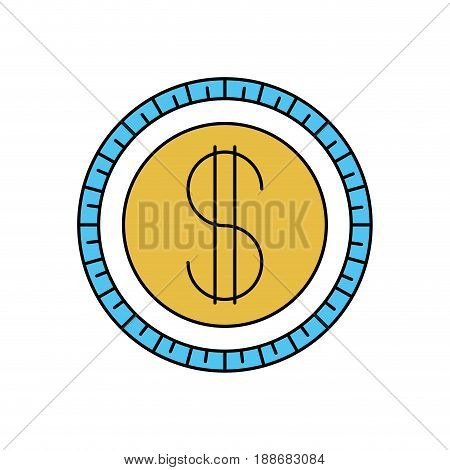 color sectors silhouette of coin icon vector illustration