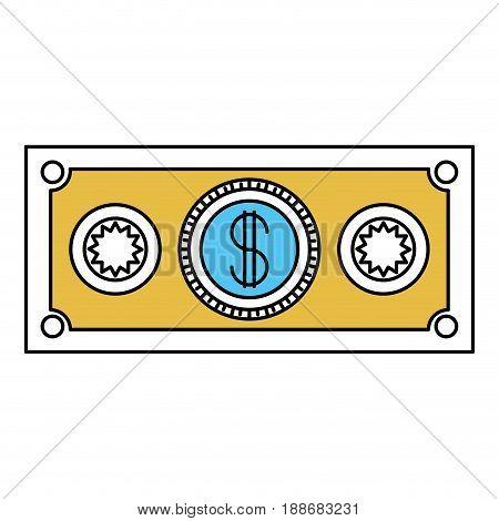 color sectors silhouette of money bill icon vector illustration
