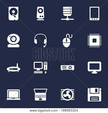 Set Of 16 Laptop Icons Set.Collection Of Fan, Diskette, Microprocessor And Other Elements.