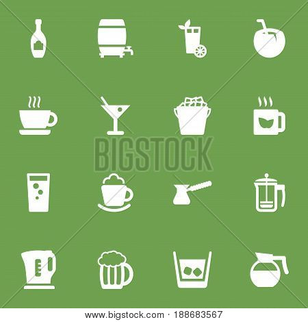 Set Of 16 Beverages Icons Set.Collection Of Fridge, Lime, Cream And Other Elements.