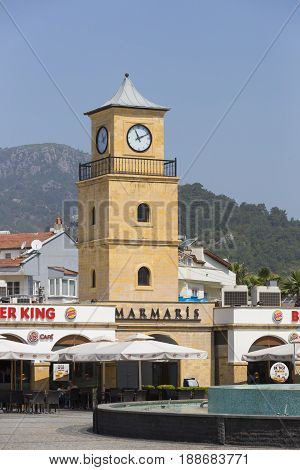 MARMARIS, TURKEY - 2 MAY , 2017: Streets of the resort town of Marmaris with monuments