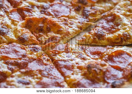 Clouse Up Of Cheese Bread Pizza Background