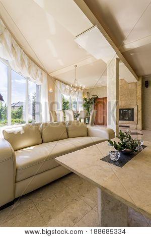 Interior With Big Windows, Beige Sofa