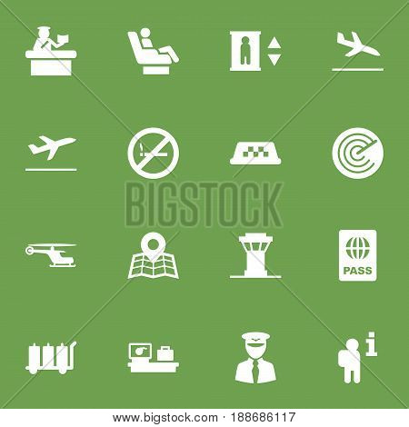 Set Of 16 Plane Icons Set.Collection Of Luggage Check, Aviator, Vip And Other Elements.