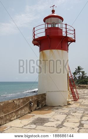Lighthouse of Fort Sao Sebastiao, Sao Tome city, Sao Tome and Principe, Africa
