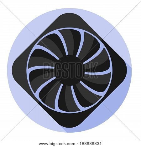 Vector image computer fan on a round background