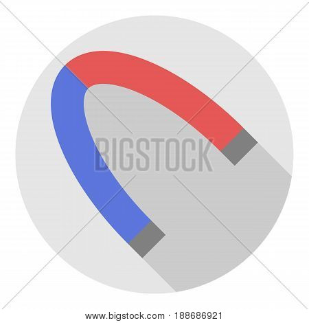 Vector image of a magnet on a round background