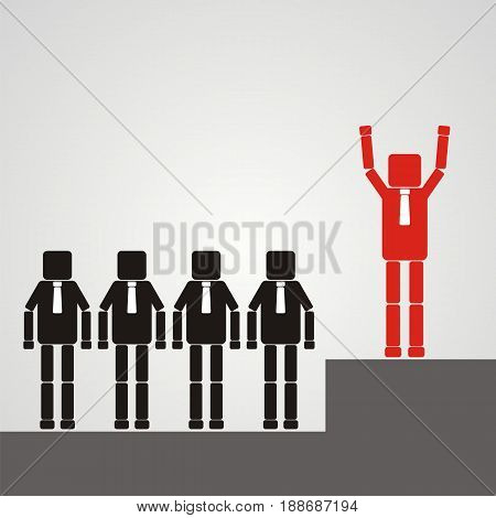 Recruitment concept. A worker with a square head raises his hands. vector flat icon.