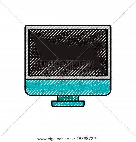 colored crayon silhouette of lcd monitor vector illustration