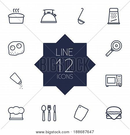 Set Of 12 Cooking Outline Icons Set.Collection Of Microwave, Bread, Skillet And Other Elements.