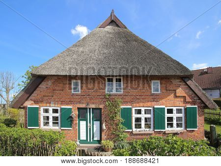 Reed Roofed House In Mecklenburg-west Pomerania, Germany