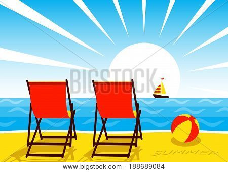 vector deck chairs on the beach and sailboat floating on the sea
