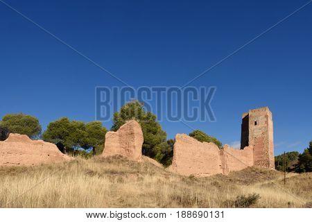 Walls and Jaque tower in Daroca Zaragoza province Aragon Spain