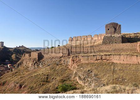 Walls And Main Castle, Daroca, Zaragoza Province, Aragon, Spain