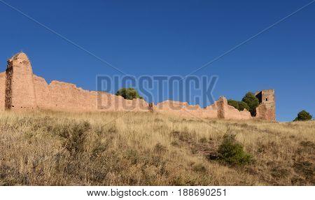 Walls And El Jaque Tower, Daroca, Zaragoza Province, Aragon, Spain