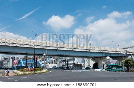 Tokyo Japan - May 5 2017: Cars are traveling under the Highway in Sumida area.
