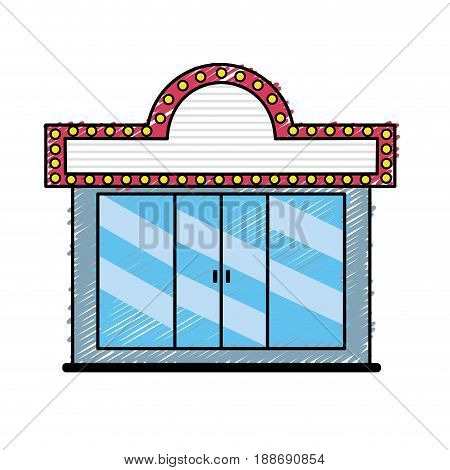 cinema theater to watch movie projection, vector illustration