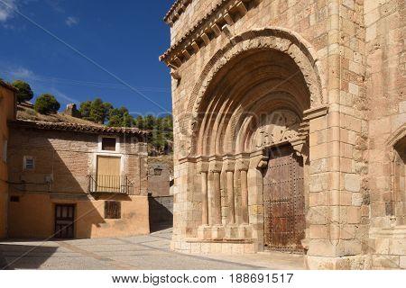 Detail Of Romanesque Portal Of The Church Of San Miguel Or San Valero (13Th Century), Daroca. Zarago