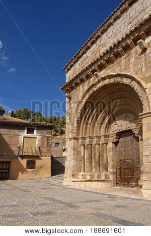 Romanesque Portal Of The Church Of San Miguel Or San Valero (13Th Century), Daroca. Zaragoza Provinc