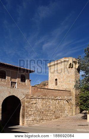 Puerta Alta (high door) in medieval town of Daroca Zaragoza province Aragon Spain