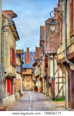 Traditional houses on a street of Troyes - France, Aube
