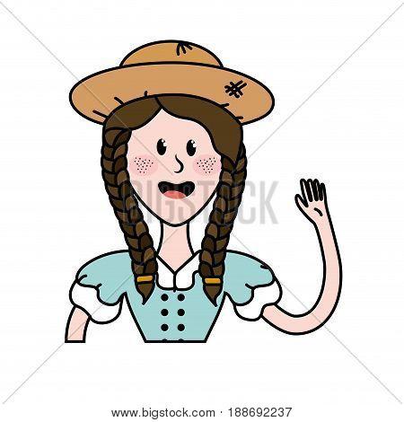 pretty woman with hat and blouse vector illustration