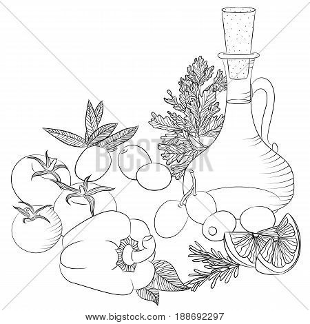 Vector line art illustration with food. Still life with olive oil and vegetables. Illustration for menu cookbook or coloring book. Sketch isolated on white background