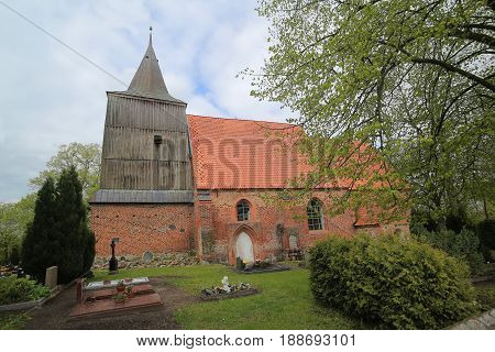 Brick Gothic Church And Cemetery In Hohendorf