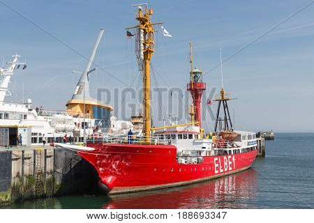 HELGOLAND GERMANY - MAY 27 2017: Historic lightship Elbe1 in harbor of Helgoland