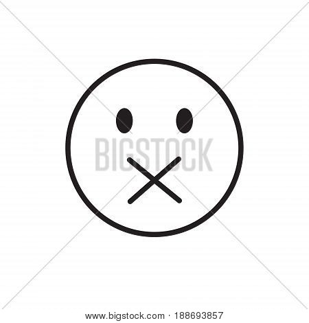 Cartoon Face Silent Not Speaking People Emotion Icon Vector Illustration