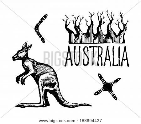 Australia symbols and signs. Vector sketch hand-drawing a gel pen.  Kangaroo and baobab tree.