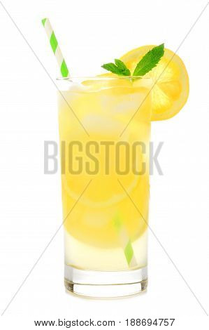 Glass Of Lemonade With Straw Isolated On A White Background