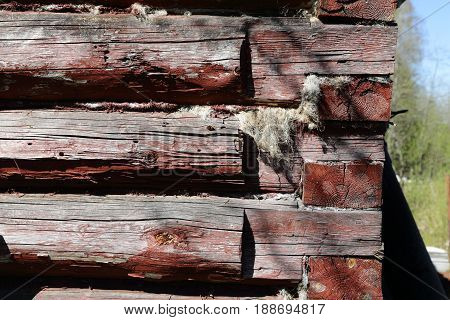 Debarked Rough Log Cabin Wall Horizontal Background Or Texture Close Up.