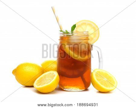 Mason Jar Glass Of Iced Tea With Lemons And Straw Isolated On A White Background