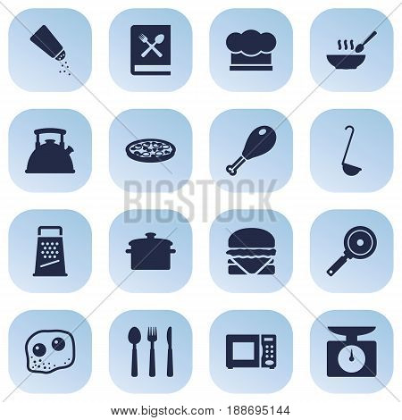 Set Of 16 Cooking Icons Set.Collection Of Saltshaker, Scoop, Electronic Oven And Other Elements.