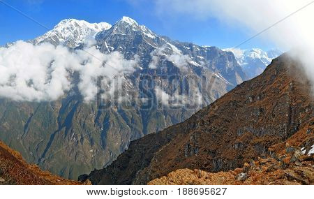 Mountain Landscape in Himalayas. Nepal, Annapurna region, Mardi Himal track