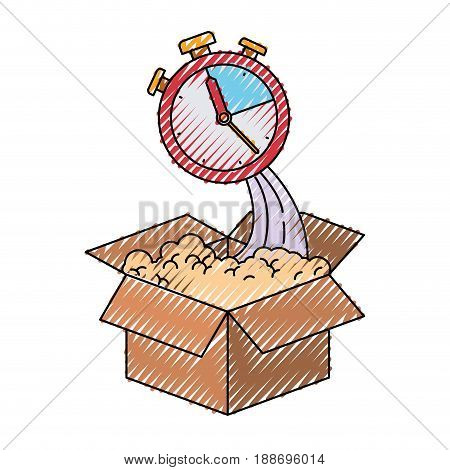 colored crayon silhouette of cardboard box and stopwatch vector illustration
