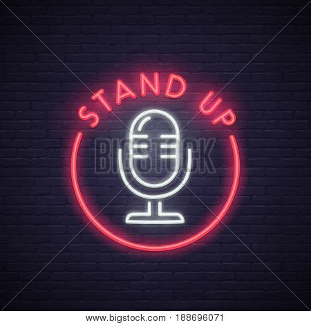 Stand Up neon sign. Neon sign, bright signboard, light banner