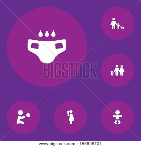 Set Of 6 People Icons Set.Collection Of Expectant Mother, Kid, Nappy And Other Elements.