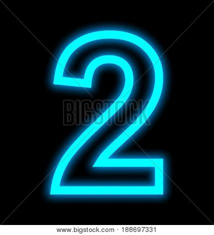 Number 2 Neon Lights Outlined Isolated On Black