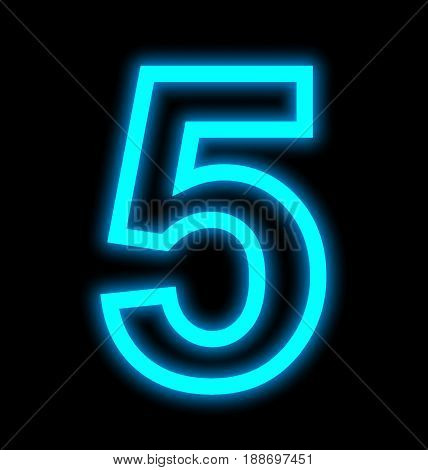 Number 5 Neon Lights Outlined Isolated On Black