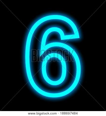 Number 6 Neon Lights Outlined Isolated On Black