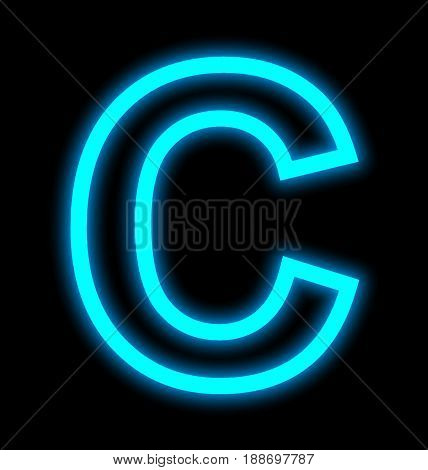 Letter C Neon Lights Outlined Isolated On Black